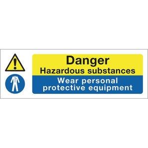 Multi-purpose hazard signs - Danger hazardous substances wear personal protective equipment