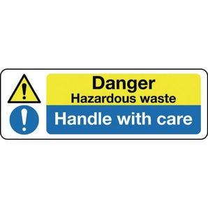 Multi-purpose hazard signs - Danger hazardous waste handle with care