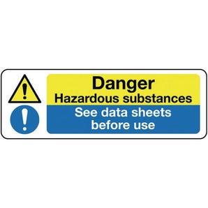 Multi-purpose hazard signs - Danger hazardous substances see data sheets before use