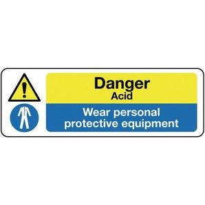 Multi-purpose hazard signs - Danger acid wear personal protective equipment