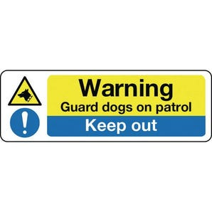 Contruction and general hazards - Warning guard dogs on patrol keep out