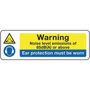 Machinery hazards - Warning noise level emissions of 90dB(A) or above ear protection must be worn