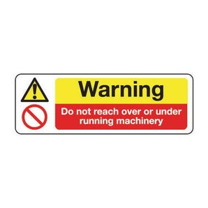 Machinery hazards - Warning do not reach over or under running machinery