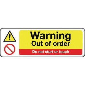 Machinery hazards - Warning out of order do not start or touch