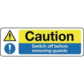 Machinery hazards - Caution switch off before removing guards
