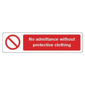 Mini prohibition signs - No admittance without protective clothing