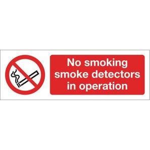 Smoking prohibition signs - No smoking Smoke detectors in operation