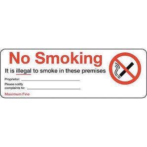Personalised regulation no smoking signs - No smoking