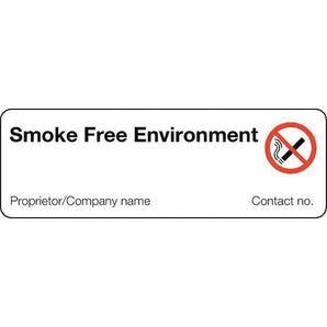 Personalised regulation no smoking signs - Smoke free environment