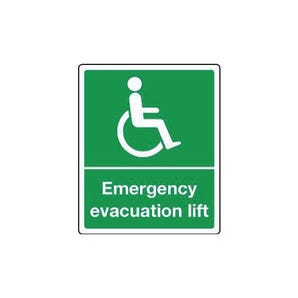 Fire exit signs for the disabled - Emergency evacuation lift