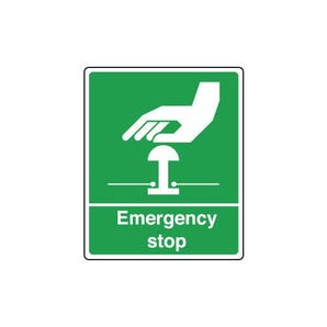 Safe condition and first aid signs - Emergency stop sign - green