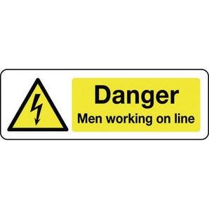 Electrical hazard signs - Danger men working on line