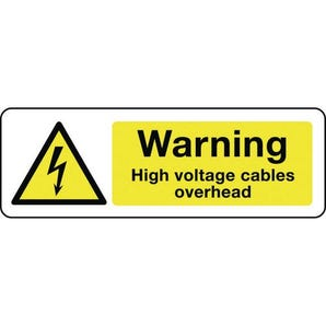 Electrical hazard signs - Warning high voltage cables overhead