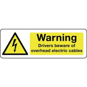 Electrical hazard signs - Warning drivers beware of overhead electric cables