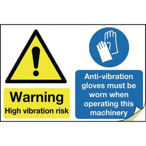 Hand arm vibration labels - Warning high vibration risk ant vibration gloves must be worn when operating this machine