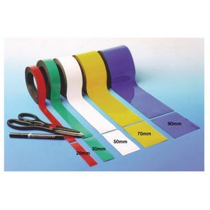 Magnetic easy wipe racking label tape - Blue