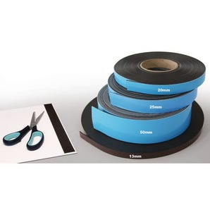 Self-adhesive back magnetic front label tape