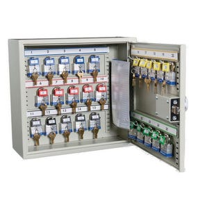 Key cabinets for large bunches and padlock