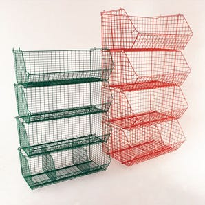 Open fronted wire basket containers