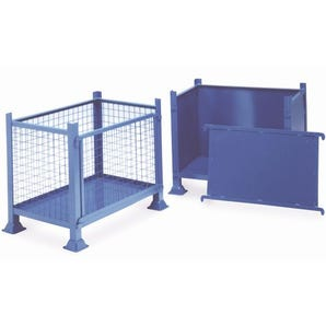 Steel box pallets with detachable panel, 1000kg capacity