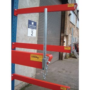 Heavy duty bolted cantilever racking end stops, 250mm tall kits