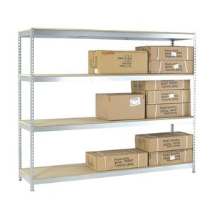 Extra heavy duty galvanised boltless shelving with chipboard shelves - 600kg