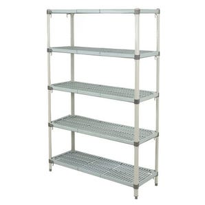 Metromax Q™ polymer shelving - 5 shelf unit - Starter bays.