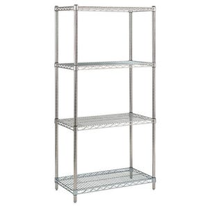 Metric stainless steel wire shelving - 4 shelves