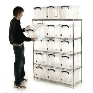 Wire-shelf archive storage with plastic boxes