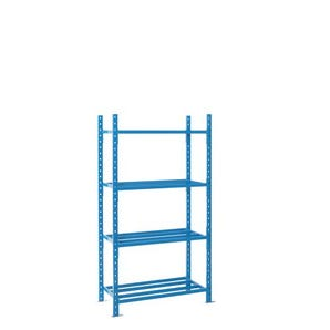 2500mm high Heavy duty tubular shelving with chipboard covers - Starter bays without covers