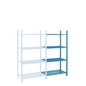 2500mm high Heavy duty tubular shelving with chipboard covers - Add-on bays without covers
