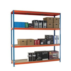 Heavy duty boltless chipboard shelving - with chipboard shelves 2.5m high