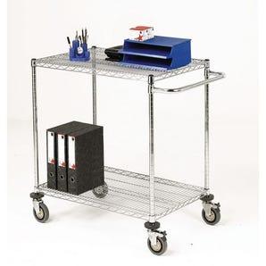 Adjustable chrome wire shelf trolleys, 2 shelves