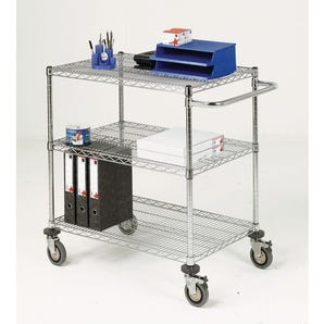Adjustable chrome wire shelf trolleys, 3 shelves