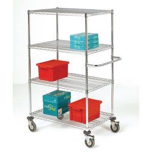 Adjustable chrome wire shelf trolleys, 4 shelves