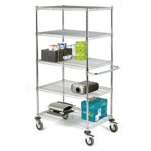 Adjustable chrome wire shelf trolleys, 5 shelves