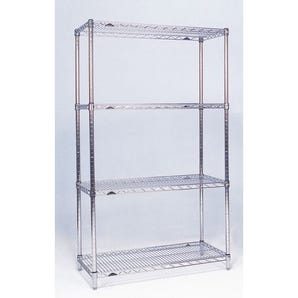 Slingsby chrome wire shelving system starter bay - 4 shelf levels, height 1590mm