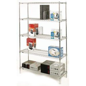 Slingsby chrome wire shelving system starter bay - 5 shelf levels, height 1895mm