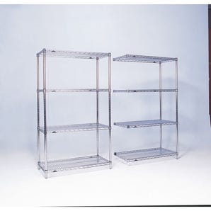 Slingsby chrome wire shelving system add-on bay - 4 shelf levels, height 1590mm