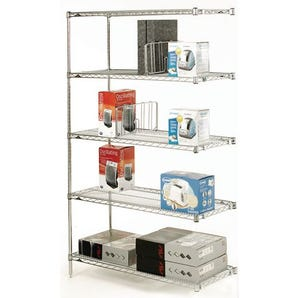 Slingsby chrome wire shelving system add-on bay - 5 shelf levels, height 1895mm