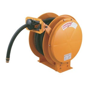 Spring rewind, high visibility, high capacity hose reels for air/water