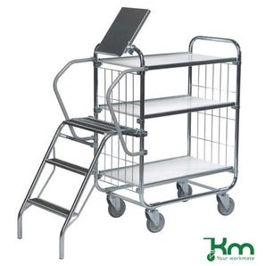 Konga order picking trolleys with retractable steps