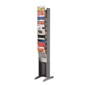 Silver free-standing display tower