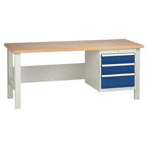 Medium duty workbenches - Workbench with 1 triple drawer unit