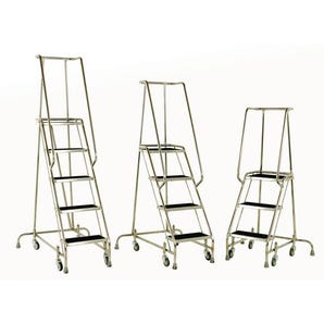 Stainless steel warehouse steps with spring-loaded castors