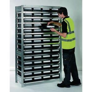 Galvanised shelving including shelf bins