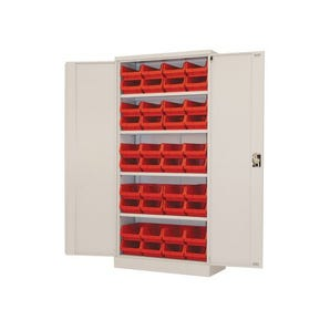Steel cupboards complete with 40 polypropylene bins