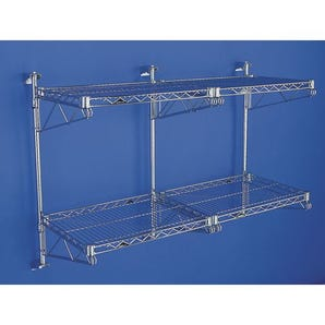 Adjustable wall mounted brackets for wall mounted shelving