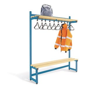 Probe round tube cloakroom bench unit with hanging rail