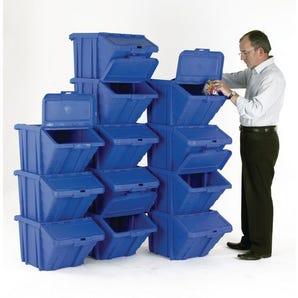Large storage bins with hinged lids